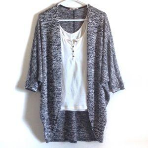 Black & white cocoon sweater